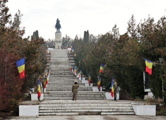 """Ansamblul Monumental """"Statuia ecvestră a domnitorului Ștefan cel Mare"""", situat în satul Bacaoani, județul Vaslui"""