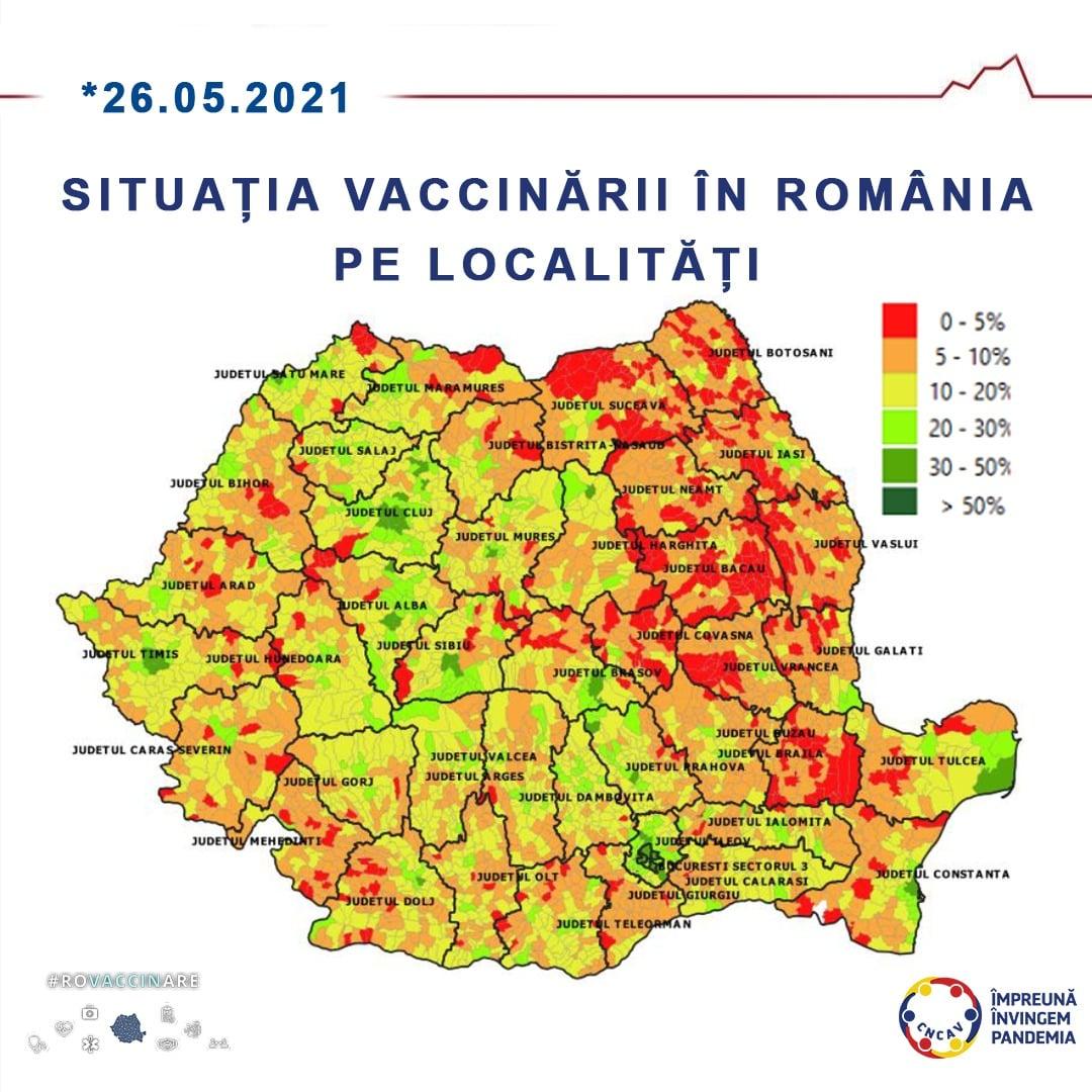 Topul celor zece localități din România cu cel mai mare procent din populație vaccinată anti-COVID